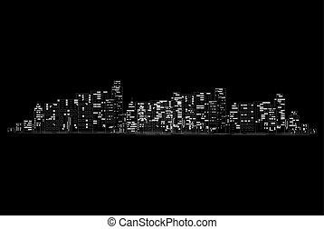 City at night - vector illustration.
