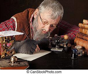 Vintage clerk - Vintage scene of an old man working in an...