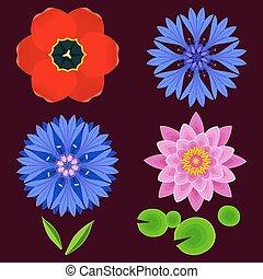 Set of flowers lotus, cornflower, tulip isolated - Set of...