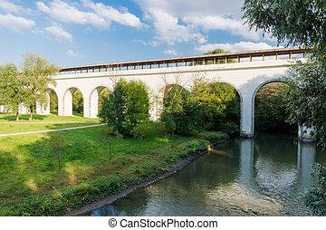 Aqueduct bridge across the river - White aqueduct bridge...
