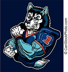 huskies football - muscular huskies football player mascot...