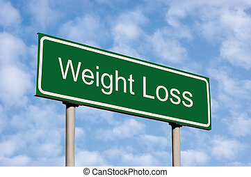 Weight Loss Green Road Sign Against Light Cloudscape Sky -...