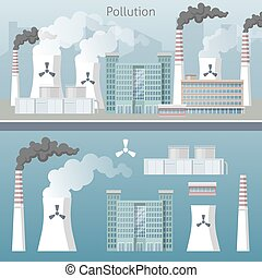 Energy Industry Air Pollution Cityscape Vector illustration