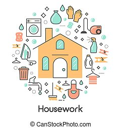 House Work Line Art Thin Vector Icons Set with Washing...