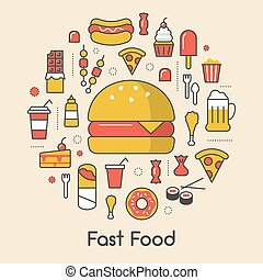 Fast Food Line Art Thin Vector Icons Set with Burger Pizza...