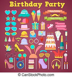 Birthday Party Decoration Set with Photo Booth Elements and...