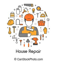 House Repair Renovation Line Art Thin Vector Icons Set with Repairman and Tools