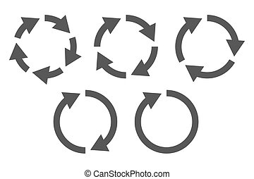 Circular arrows icon set - Repetitive process icon with...