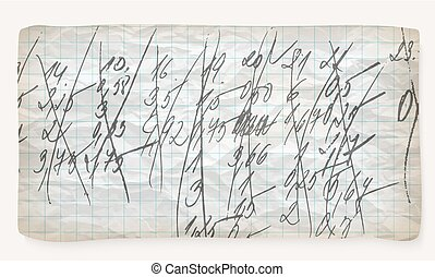 Crumpled graph paper and hand written numbers
