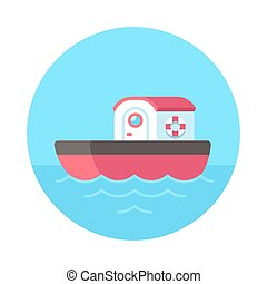 Cartoon tugboat illustration - Cute cartoon tugboat at sea,...