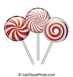 cartoon lollipop candy spiral red and white design