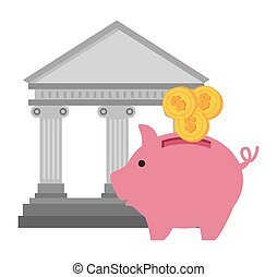 bank piggy currency graphic vector illustration eps 10