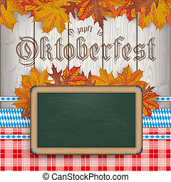 Oktoberfest Blackboard Foliage Wood Red Blanket Ribbons -...
