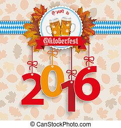 """Oktoberfest 2016 Foliage Emblem - German text """"Ozapft is""""..."""