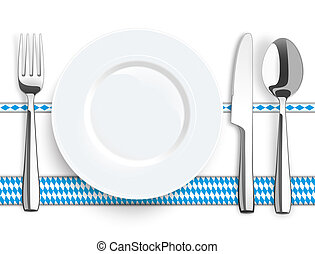 Knife Fork Spoon Plate Bavarian Ribbon - Flatware and...