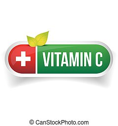 Vitamin C pill button vector