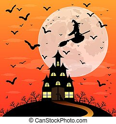 Halloween patty. Witch and bats are flying witch in the...