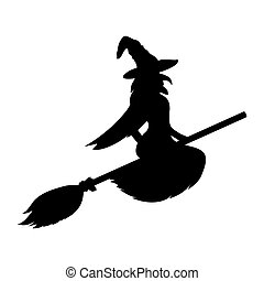 Scary witch flying vector - Witch silhouette on a white...