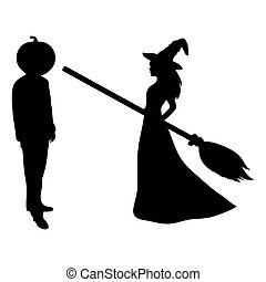Beautiful witch with a broom and a man with the head of a...