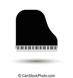 Grand piano icon. White background with shadow design....