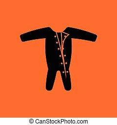 Baby onesie icon. Orange background with black. Vector...