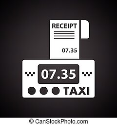 Taxi meter with receipt icon Black background with white...