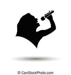 Karaoke womans silhouette icon. White background with shadow...