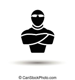 Night club security icon. White background with shadow...