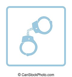 Handcuff icon Blue frame design Vector illustration