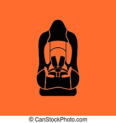 Baby car seat icon Orange background with black Vector...