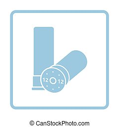 Hunt gun ammo icon. Blue frame design. Vector illustration.