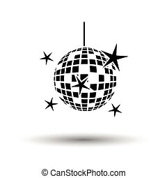 Night clubs disco sphere icon. White background with shadow...
