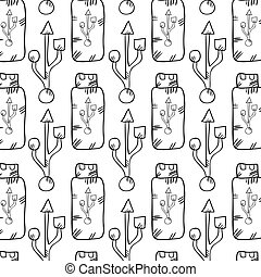 usb flash drive background. data storage device. drawn...