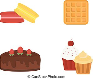 Different cakes isolated vector illustration. - Biscuit...