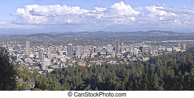 Portland Oregon downtown panorama from Pittock mansion. -...