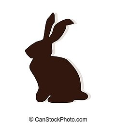 rabbit easter season - cute brown rabbit easter season. side...