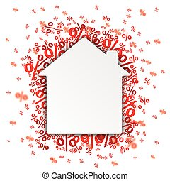 Paper Speech Bubble Red Percents - Paper speech bubble with...