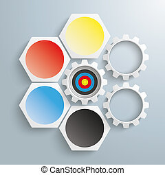4 White Hexagons 3 Gears Cycle Target - Infographic with...