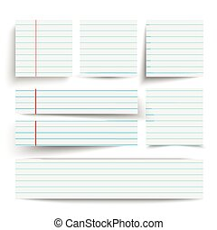 Lined Paper Banners Set - Lined paper banners with shadows...