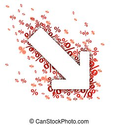Down Arrow Red Percents - White paper arrow with red...