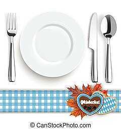 Knife Fork Spoon Plate Oktoberfest Blue Tablecloth