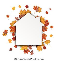 House Autumn Foliage - Paper house with autumn foliage on...