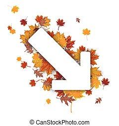 Down Arrow Autumn Foliage - White paper arrow with autumn...