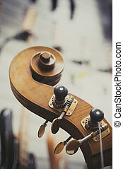 Double bass headstock close up - Double bass headstock and...