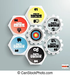 4 White Hexagons 3 Gears Cylce Target - Infographic with...