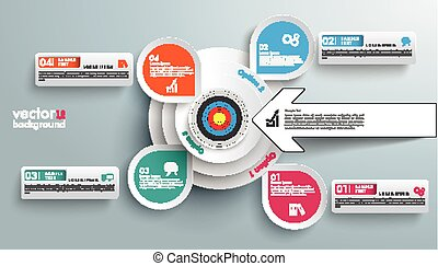 White Circles in Circles 4 Options Banner Tabs Target Arrow...