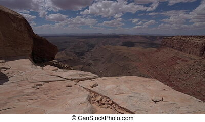 Muley Point Overlook Mexican Hat UT low wide angle dolly...