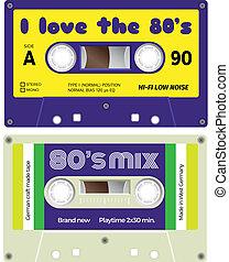 Audio cassette records - Vintage cassette tapes. Analogue...