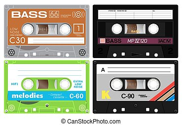 Audio cassette records - Four audio cassette tapes. Detailed...