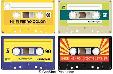 Audio cassette records - Front view of plastic cassette...